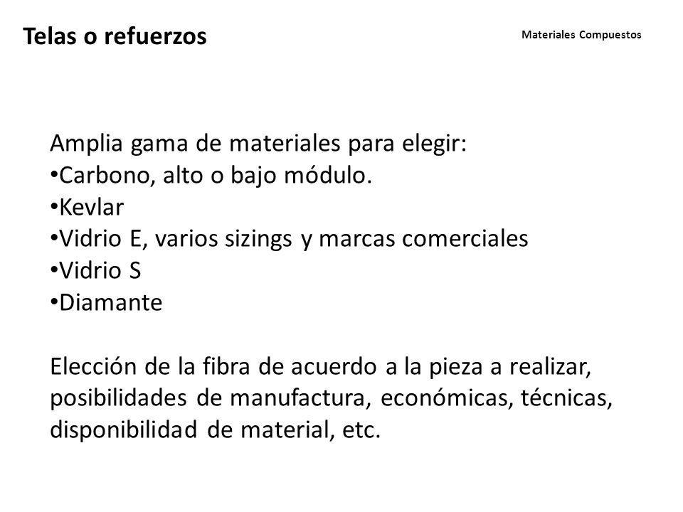 Materiales Compuestos Telas o refuerzos Amplia gama de materiales para elegir: Carbono, alto o bajo módulo.