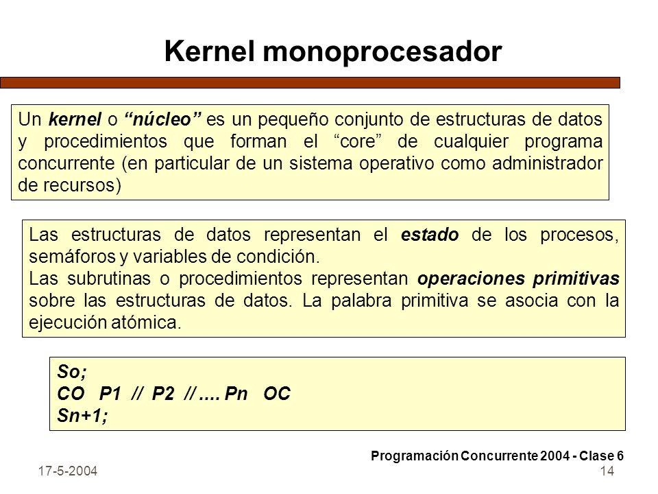 17-5-200414 Kernel monoprocesador Un kernel o núcleo es un pequeño conjunto de estructuras de datos y procedimientos que forman el core de cualquier programa concurrente (en particular de un sistema operativo como administrador de recursos) Las estructuras de datos representan el estado de los procesos, semáforos y variables de condición.