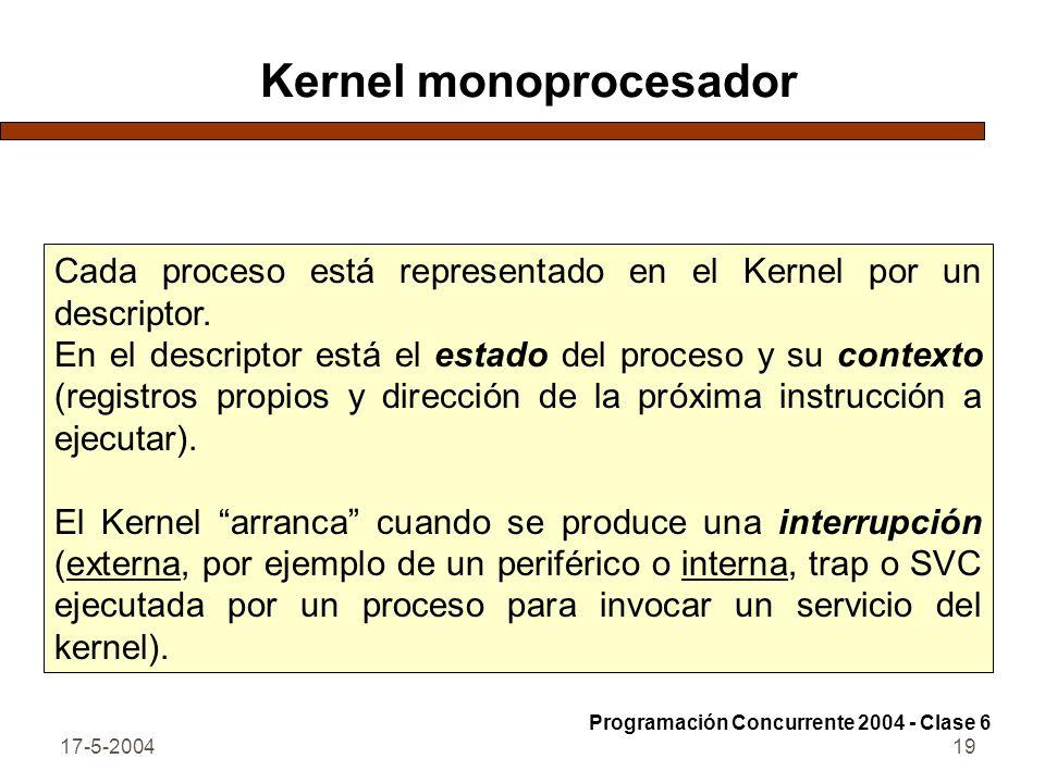 17-5-200419 Kernel monoprocesador Cada proceso está representado en el Kernel por un descriptor. En el descriptor está el estado del proceso y su cont