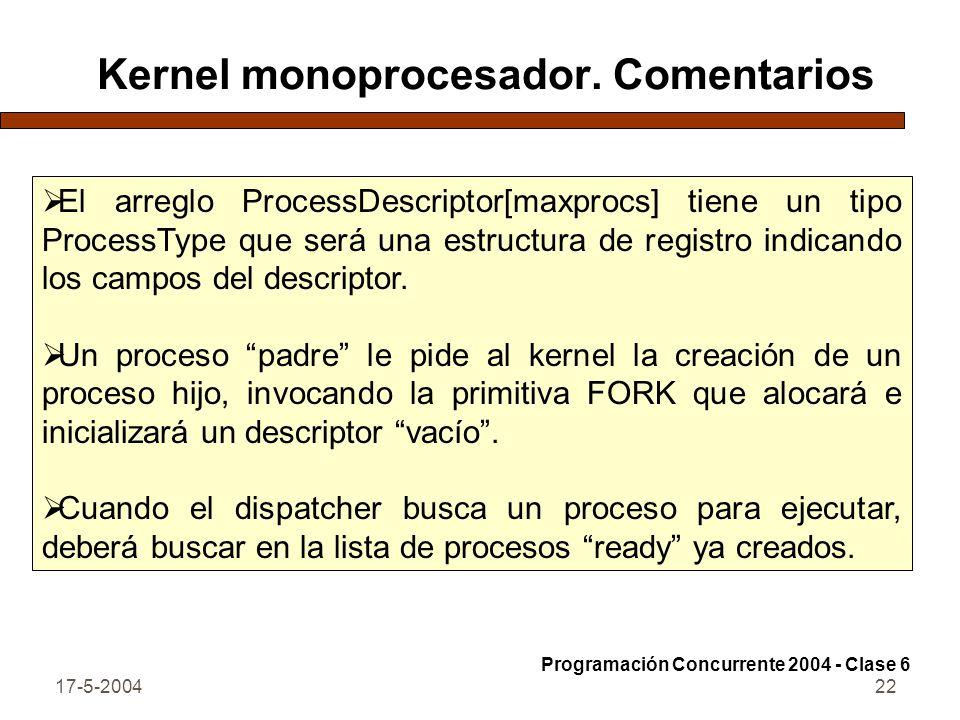 17-5-200422 Kernel monoprocesador. Comentarios El arreglo ProcessDescriptor[maxprocs] tiene un tipo ProcessType que será una estructura de registro in