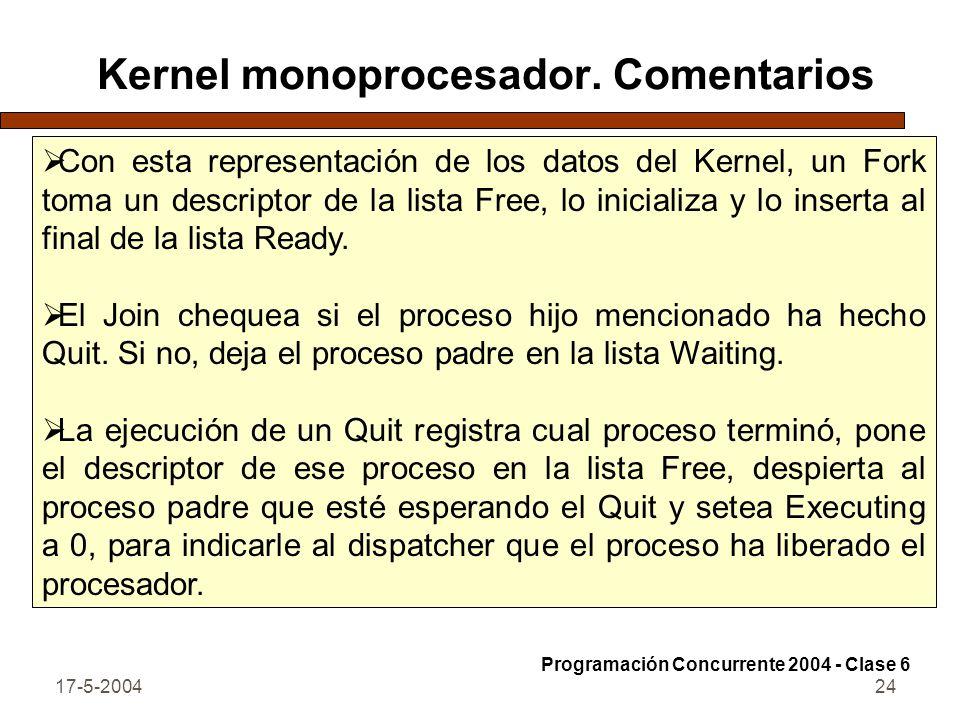 17-5-200424 Kernel monoprocesador. Comentarios Con esta representación de los datos del Kernel, un Fork toma un descriptor de la lista Free, lo inicia