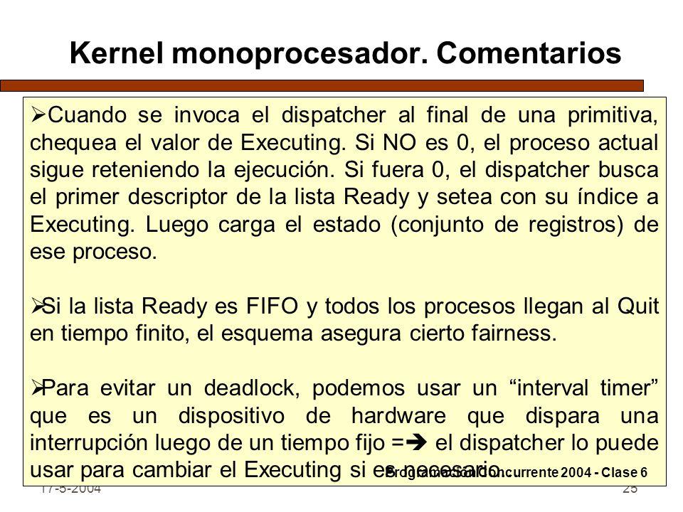 17-5-200425 Kernel monoprocesador. Comentarios Cuando se invoca el dispatcher al final de una primitiva, chequea el valor de Executing. Si NO es 0, el