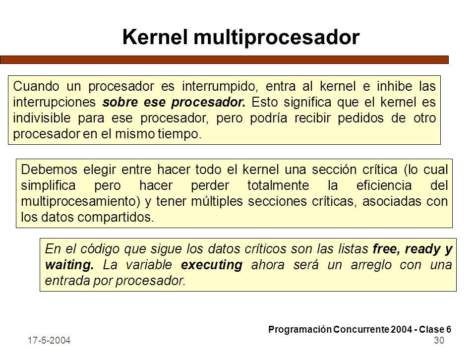 17-5-200430 Kernel multiprocesador Cuando un procesador es interrumpido, entra al kernel e inhibe las interrupciones sobre ese procesador. Esto signif