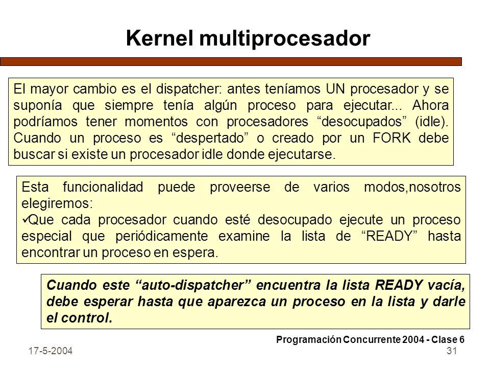 17-5-200431 Kernel multiprocesador El mayor cambio es el dispatcher: antes teníamos UN procesador y se suponía que siempre tenía algún proceso para ejecutar...