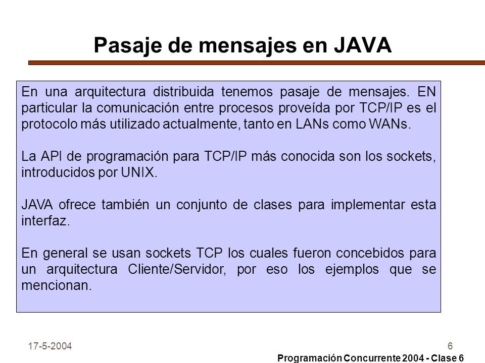 17-5-20046 Pasaje de mensajes en JAVA En una arquitectura distribuida tenemos pasaje de mensajes. EN particular la comunicación entre procesos proveíd