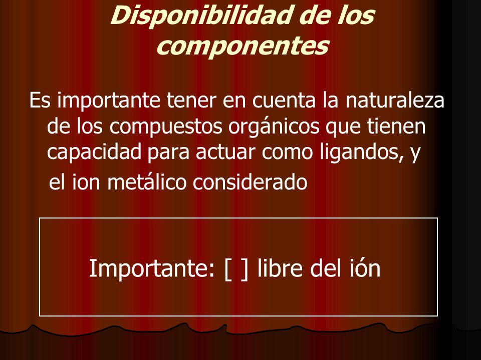 Disponibilidad de los componentes Es importante tener en cuenta la naturaleza de los compuestos orgánicos que tienen capacidad para actuar como ligandos, y el ion metálico considerado Importante: [ ] libre del ión