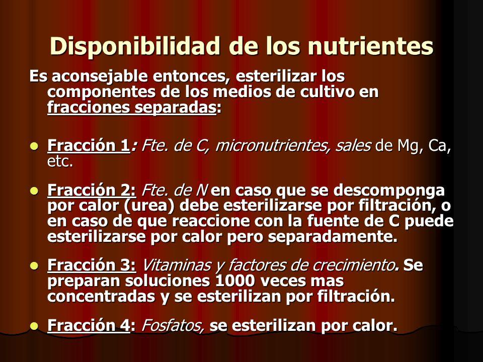 Disponibilidad de los nutrientes Es aconsejable entonces, esterilizar los componentes de los medios de cultivo en fracciones separadas: Fracción 1: Fte.