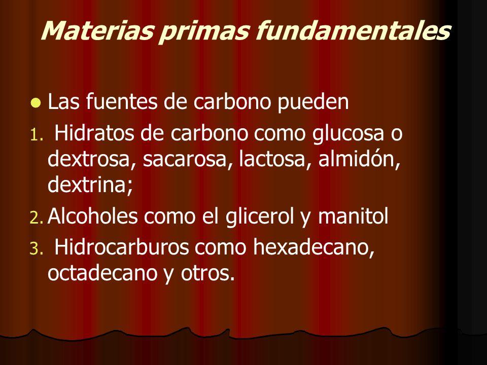 Materias primas fundamentales Las fuentes de carbono pueden 1.