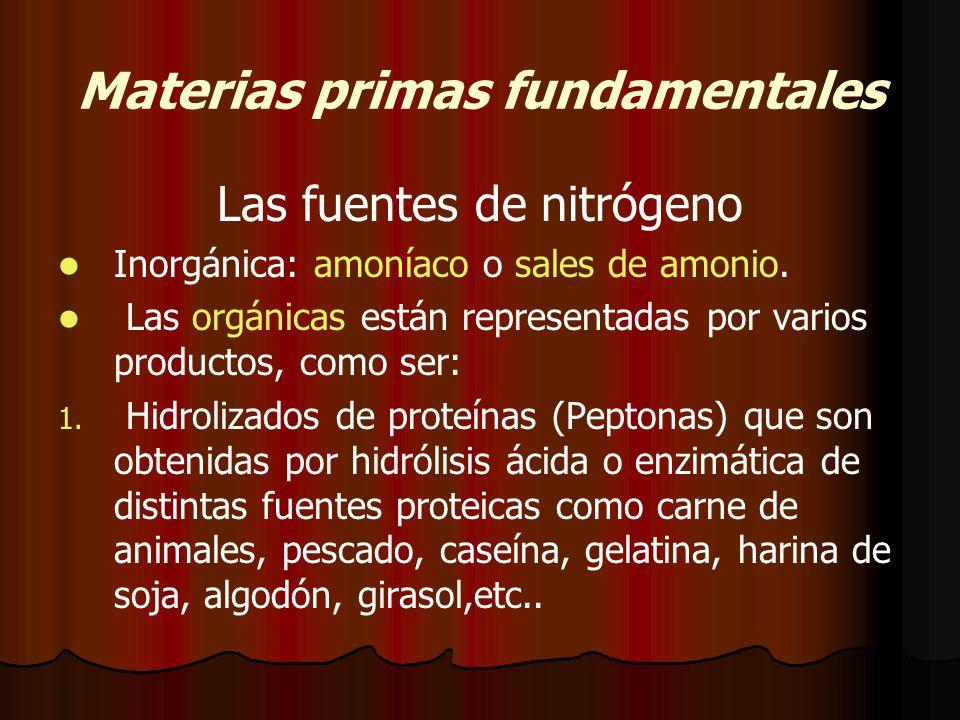 Materias primas fundamentales Las fuentes de nitrógeno Inorgánica: amoníaco o sales de amonio.