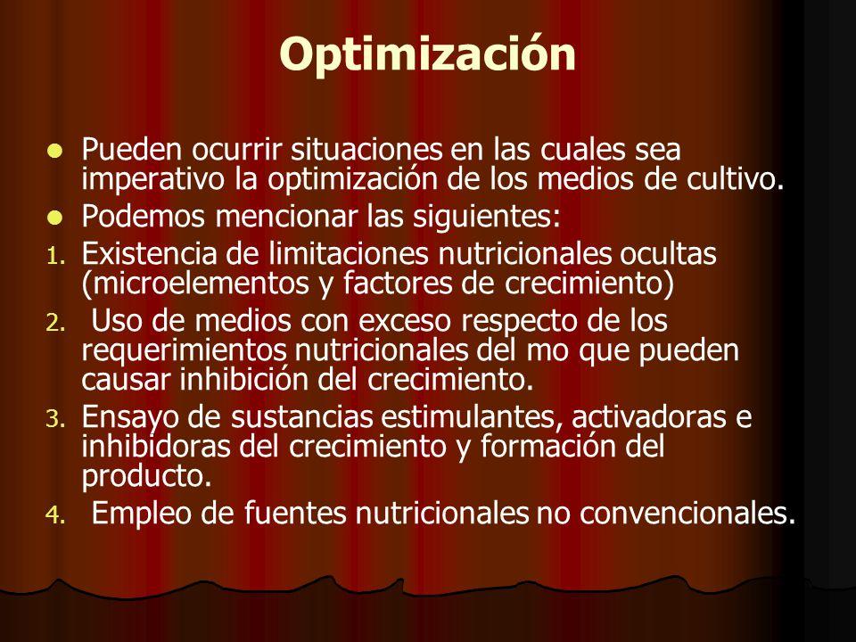 Optimización Pueden ocurrir situaciones en las cuales sea imperativo la optimización de los medios de cultivo.