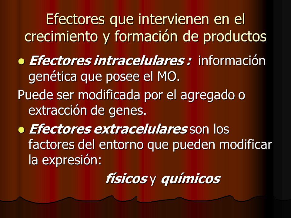 Efectores que intervienen en el crecimiento y formación de productos Efectores intracelulares : información genética que posee el MO.