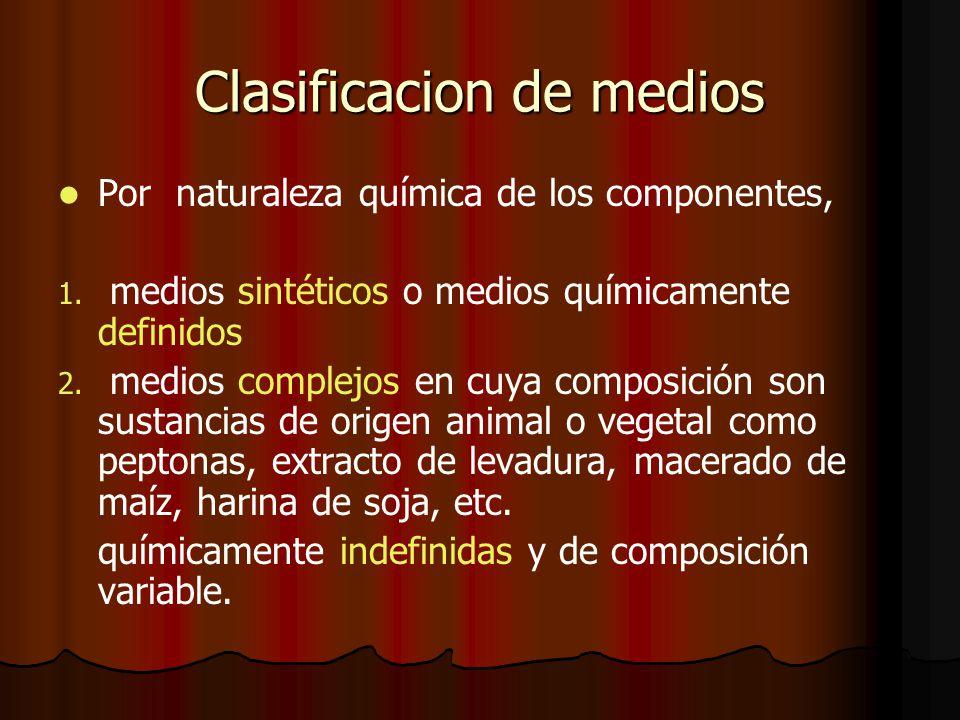 Clasificacion de medios Por naturaleza química de los componentes, 1.