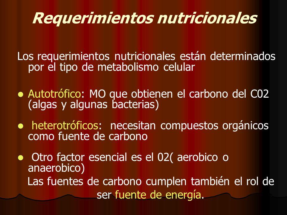 Requerimientos nutricionales Los requerimientos nutricionales están determinados por el tipo de metabolismo celular Autotrófico: MO que obtienen el carbono del C02 (algas y algunas bacterias) heterotróficos: necesitan compuestos orgánicos como fuente de carbono Otro factor esencial es el 02( aerobico o anaerobico) Las fuentes de carbono cumplen también el rol de ser fuente de energía.