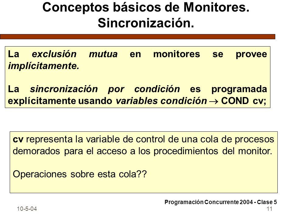 10-5-0411 Conceptos básicos de Monitores. Sincronización. La exclusión mutua en monitores se provee implícitamente. La sincronización por condición es