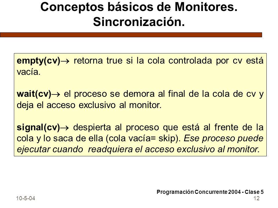 10-5-0412 Conceptos básicos de Monitores. Sincronización. empty(cv) retorna true si la cola controlada por cv está vacía. wait(cv) el proceso se demor