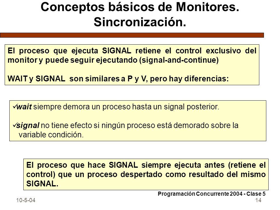 10-5-0414 Conceptos básicos de Monitores. Sincronización. El proceso que ejecuta SIGNAL retiene el control exclusivo del monitor y puede seguir ejecut