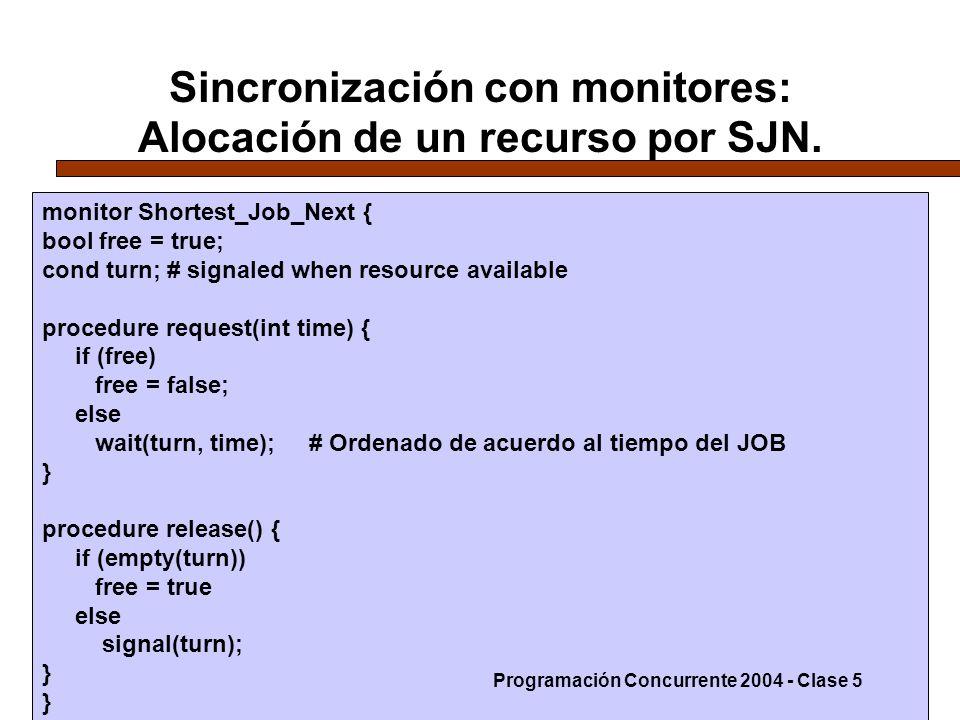 10-5-0420 Sincronización con monitores: Alocación de un recurso por SJN. monitor Shortest_Job_Next { bool free = true; cond turn; # signaled when reso