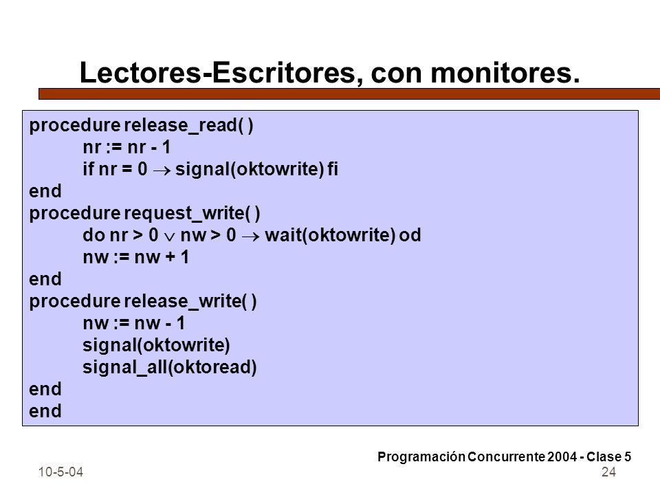 10-5-0424 Lectores-Escritores, con monitores. procedure release_read( ) nr := nr - 1 if nr = 0 signal(oktowrite) fi end procedure request_write( ) do