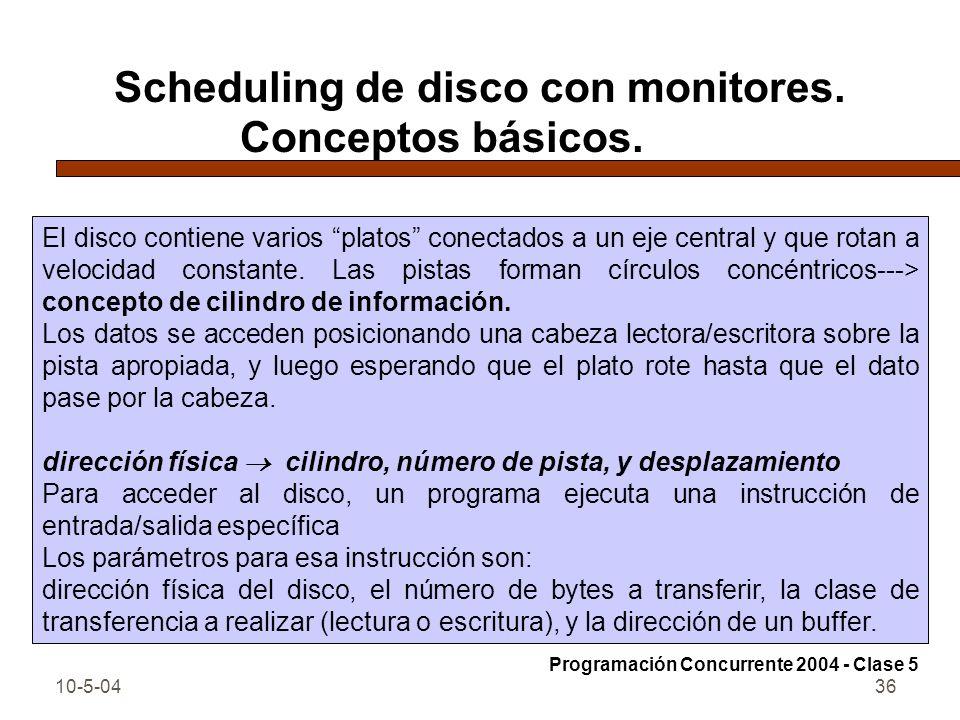 10-5-0436 Scheduling de disco con monitores. Conceptos básicos. El disco contiene varios platos conectados a un eje central y que rotan a velocidad co
