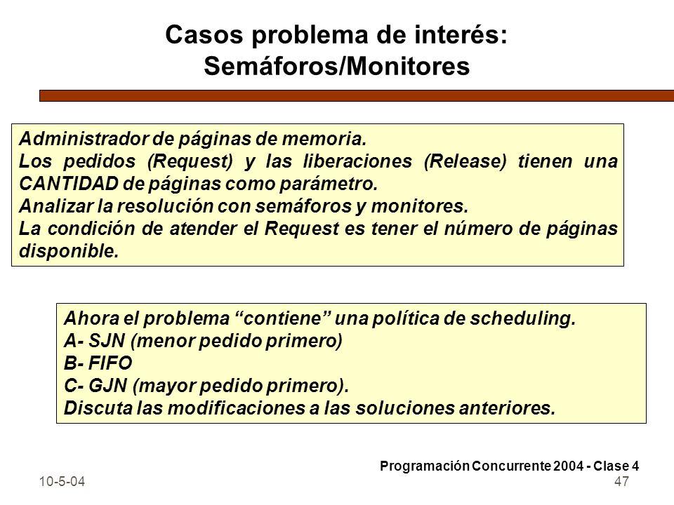 10-5-0447 Casos problema de interés: Semáforos/Monitores Administrador de páginas de memoria. Los pedidos (Request) y las liberaciones (Release) tiene