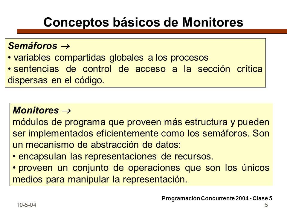 10-5-0416 Semáforo con monitores monitor FIFOsemaphore { int s = 0; ## s >= 0 cond pos; # signaled when s > 0 procedure Psem() { If (s == 0) wait(pos); else s = s-1; } procedure Vsem() { if (empty(pos)) s = s+1; else signal(pos); } Programación Concurrente 2004 - Clase 5