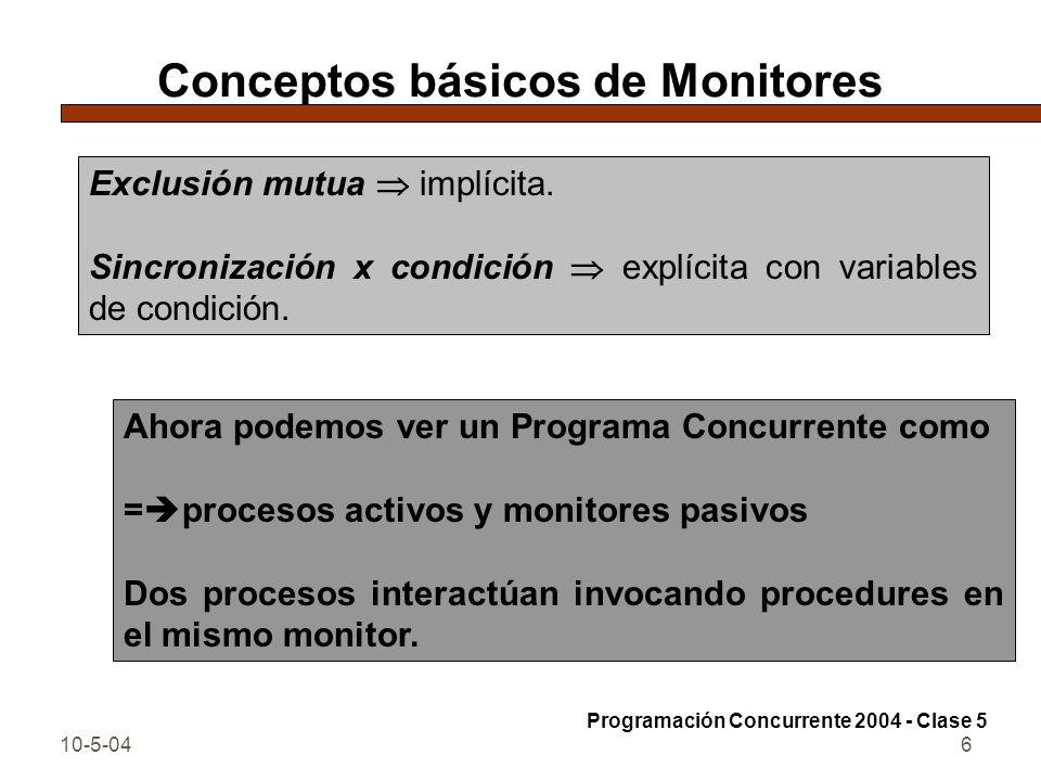 10-5-046 Conceptos básicos de Monitores Exclusión mutua implícita. Sincronización x condición explícita con variables de condición. Programación Concu