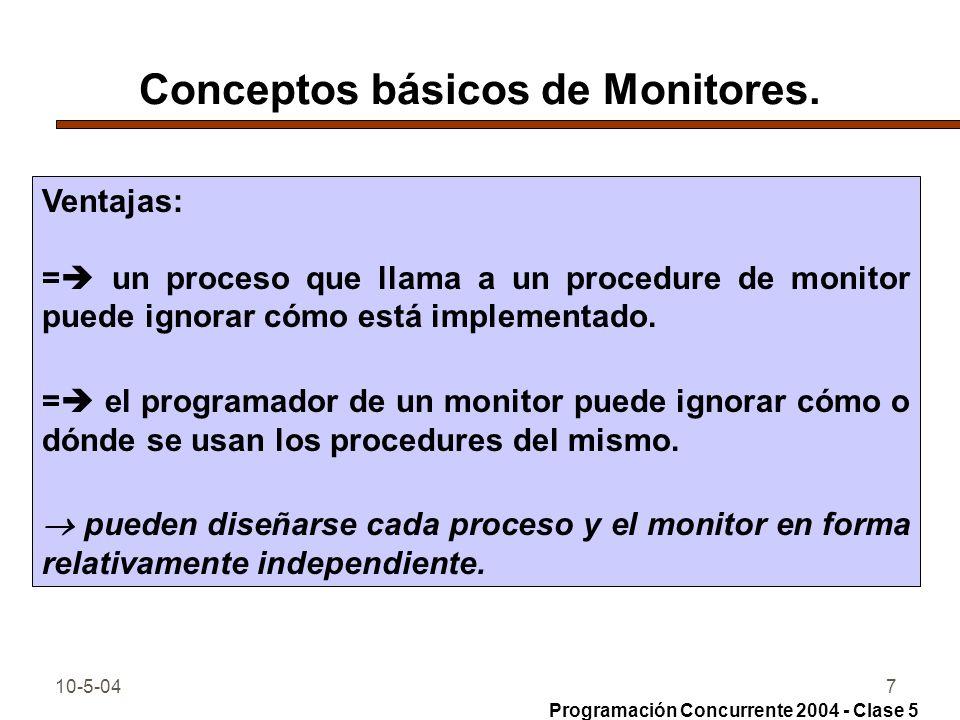 10-5-047 Conceptos básicos de Monitores. Ventajas: = un proceso que llama a un procedure de monitor puede ignorar cómo está implementado. = el program