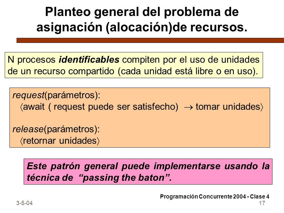 3-5-0417 Planteo general del problema de asignación (alocación)de recursos. N procesos identificables compiten por el uso de unidades de un recurso co