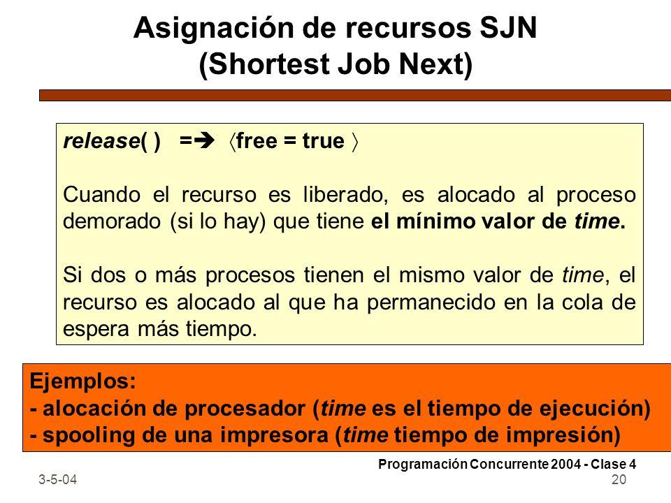 3-5-0420 Asignación de recursos SJN (Shortest Job Next) release( ) = free = true Cuando el recurso es liberado, es alocado al proceso demorado (si lo