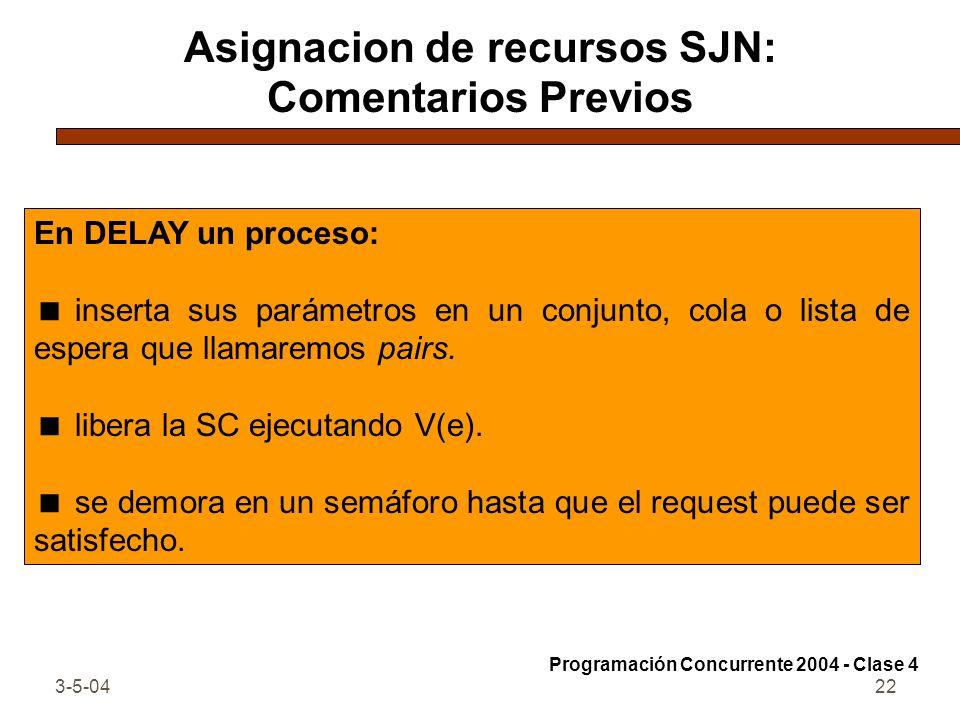 3-5-0422 Asignacion de recursos SJN: Comentarios Previos En DELAY un proceso: inserta sus parámetros en un conjunto, cola o lista de espera que llamar
