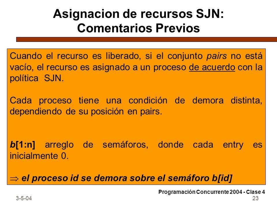 3-5-0423 Asignacion de recursos SJN: Comentarios Previos Cuando el recurso es liberado, si el conjunto pairs no está vacío, el recurso es asignado a u