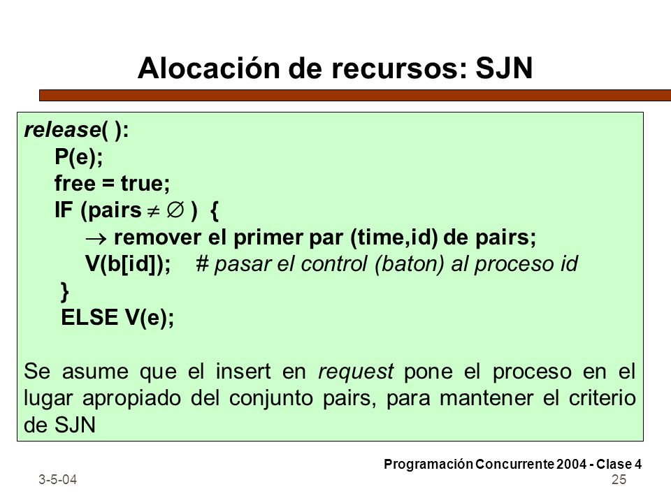 3-5-0425 Alocación de recursos: SJN release( ): P(e); free = true; IF (pairs ) { remover el primer par (time,id) de pairs; V(b[id]); # pasar el contro