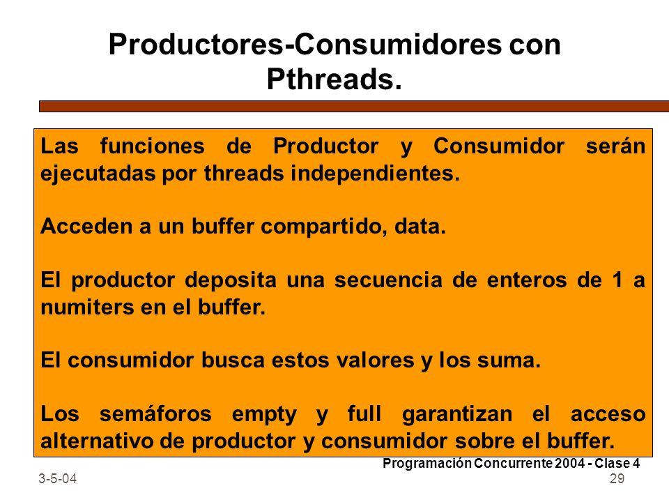 3-5-0429 Productores-Consumidores con Pthreads. Las funciones de Productor y Consumidor serán ejecutadas por threads independientes. Acceden a un buff