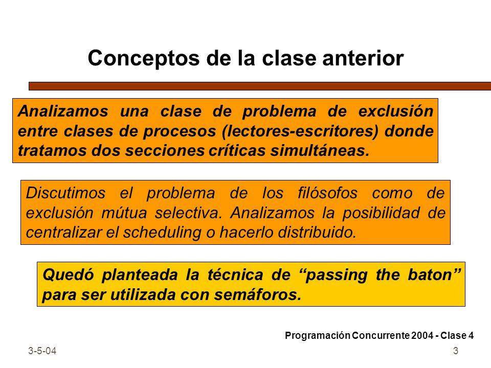 3-5-043 Conceptos de la clase anterior Discutimos el problema de los filósofos como de exclusión mútua selectiva. Analizamos la posibilidad de central