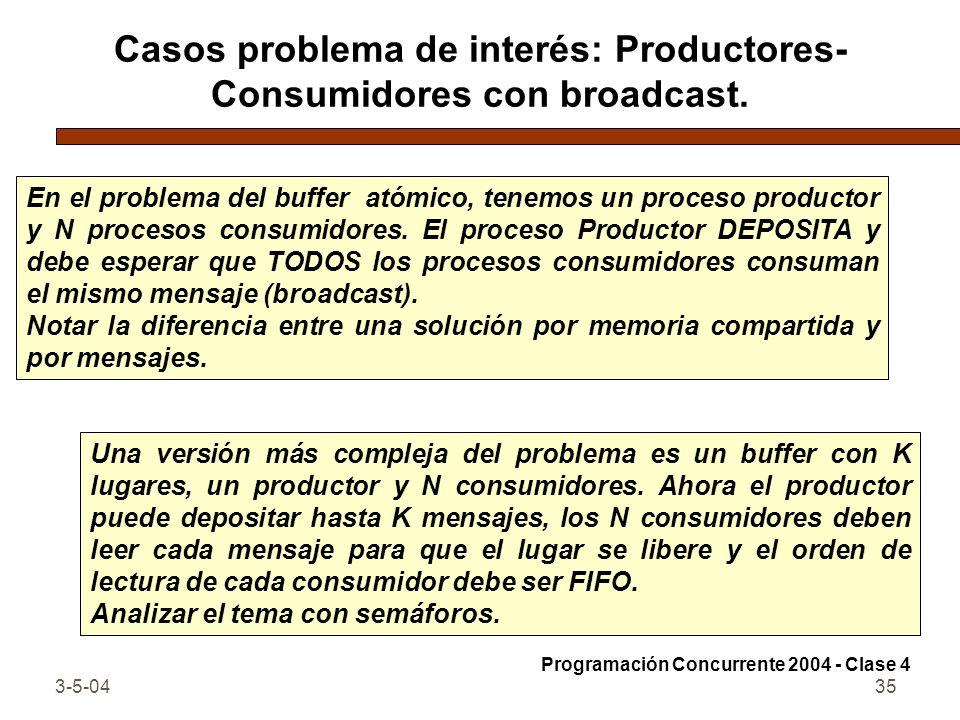 3-5-0435 Casos problema de interés: Productores- Consumidores con broadcast. En el problema del buffer atómico, tenemos un proceso productor y N proce