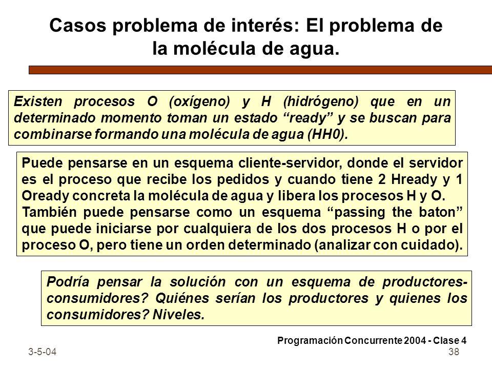 3-5-0438 Casos problema de interés: El problema de la molécula de agua. Existen procesos O (oxígeno) y H (hidrógeno) que en un determinado momento tom