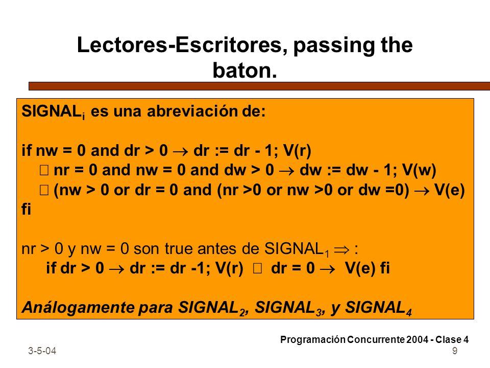 3-5-049 Lectores-Escritores, passing the baton. SIGNAL i es una abreviación de: if nw = 0 and dr > 0 dr := dr - 1; V(r) nr = 0 and nw = 0 and dw > 0 d