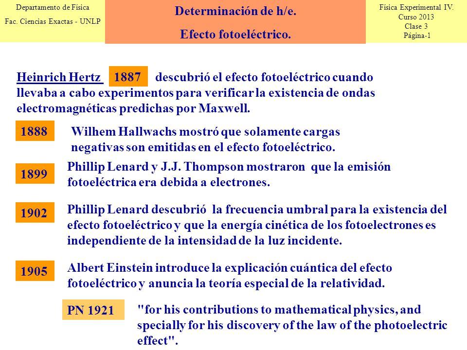 Física Experimental IV. Curso 2013 Clase 3 Página-1 Departamento de Física Fac. Ciencias Exactas - UNLP Determinación de h/e. Efecto fotoeléctrico. He