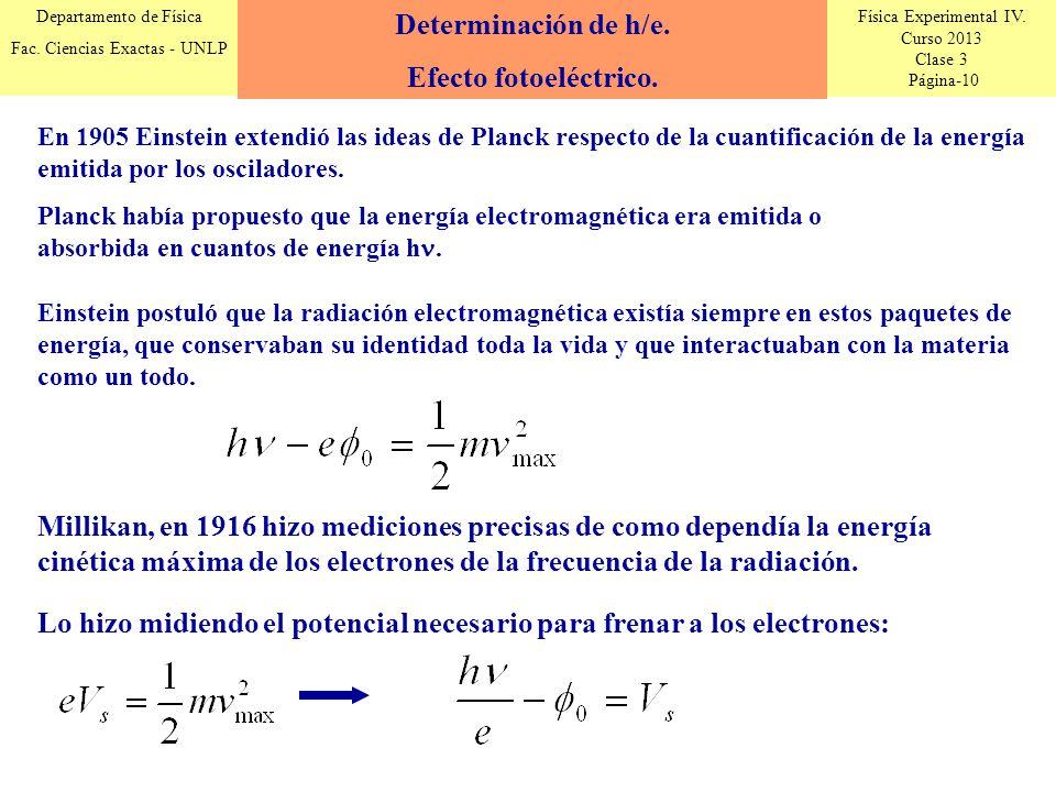 Física Experimental IV. Curso 2013 Clase 3 Página-10 Departamento de Física Fac. Ciencias Exactas - UNLP En 1905 Einstein extendió las ideas de Planck