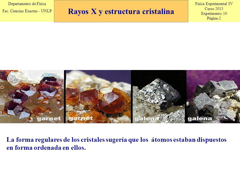 Física Experimental IV Curso 2013 Experimento 10 Página-2 Departamento de Física Fac. Ciencias Exactas - UNLP La forma regulares de los cristales suge