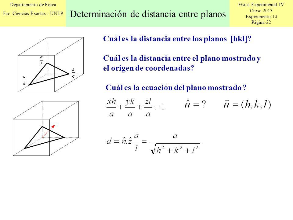 Física Experimental IV Curso 2013 Experimento 10 Página-22 Departamento de Física Fac. Ciencias Exactas - UNLP Cuál es la distancia entre los planos [