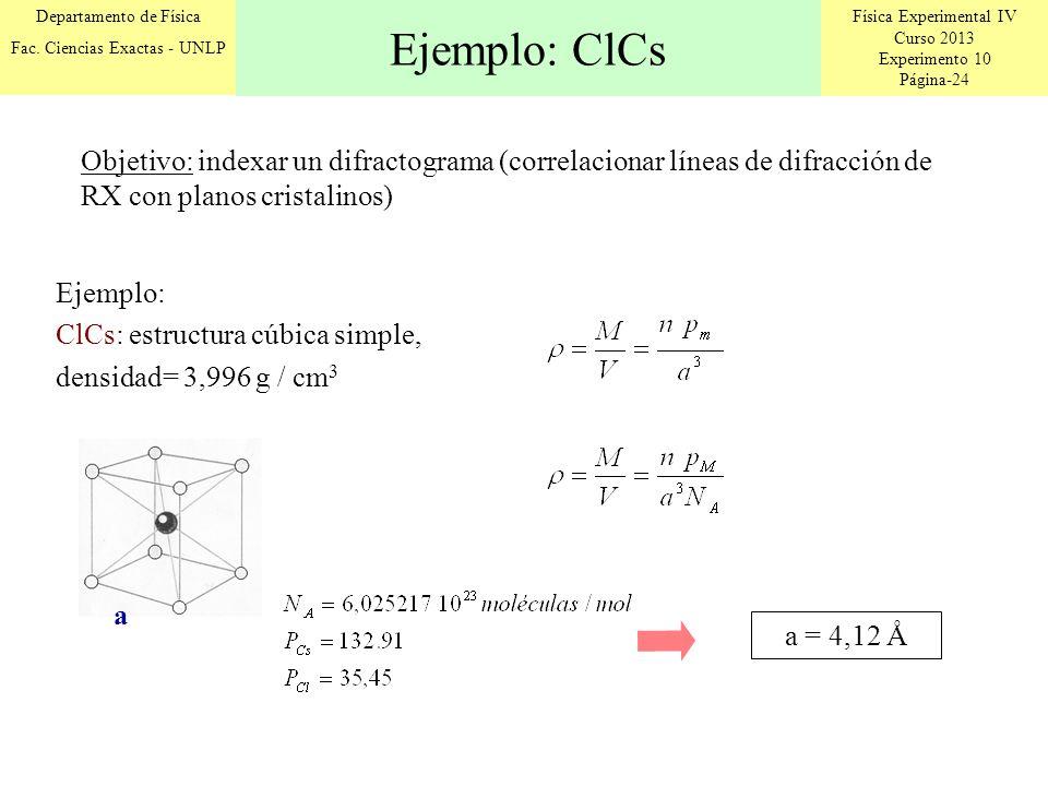 Física Experimental IV Curso 2013 Experimento 10 Página-24 Departamento de Física Fac. Ciencias Exactas - UNLP Ejemplo: ClCs Ejemplo: ClCs: estructura