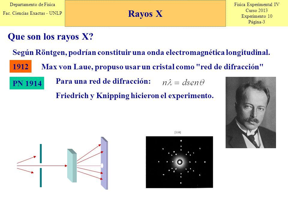 Física Experimental IV Curso 2013 Experimento 10 Página-3 Departamento de Física Fac. Ciencias Exactas - UNLP Rayos X Según Röntgen, podrían constitui