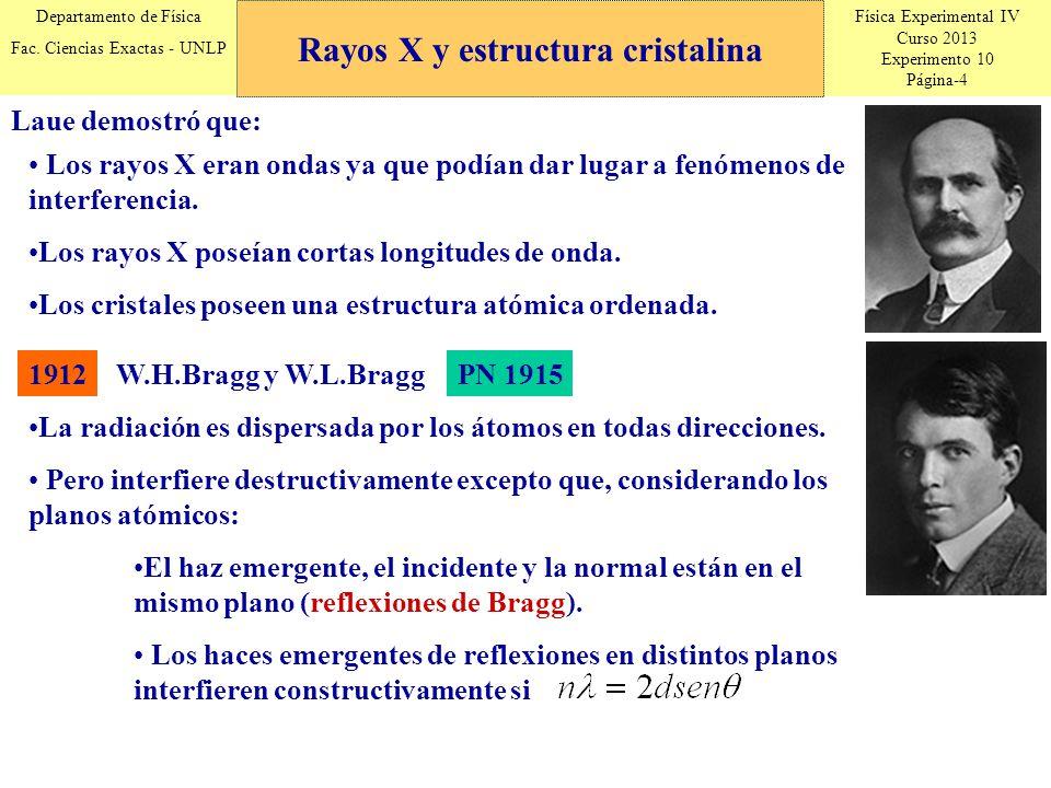 Física Experimental IV Curso 2013 Experimento 10 Página-4 Departamento de Física Fac. Ciencias Exactas - UNLP Laue demostró que: Los rayos X eran onda