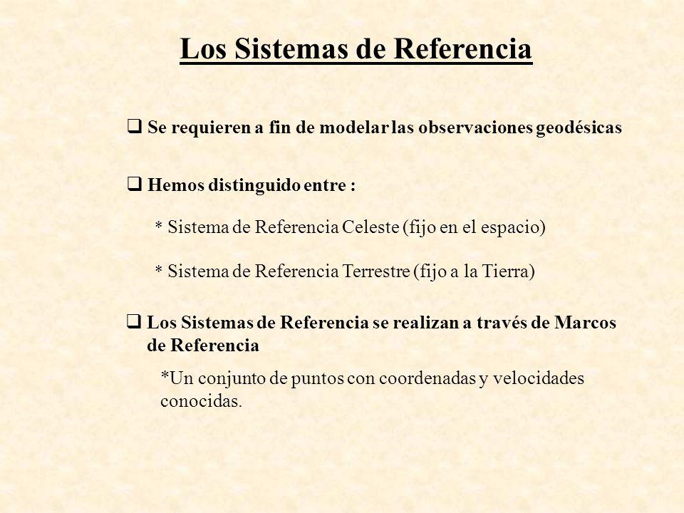 Los Sistemas de Referencia Se requieren a fin de modelar las observaciones geodésicas Hemos distinguido entre : * Sistema de Referencia Celeste (fijo