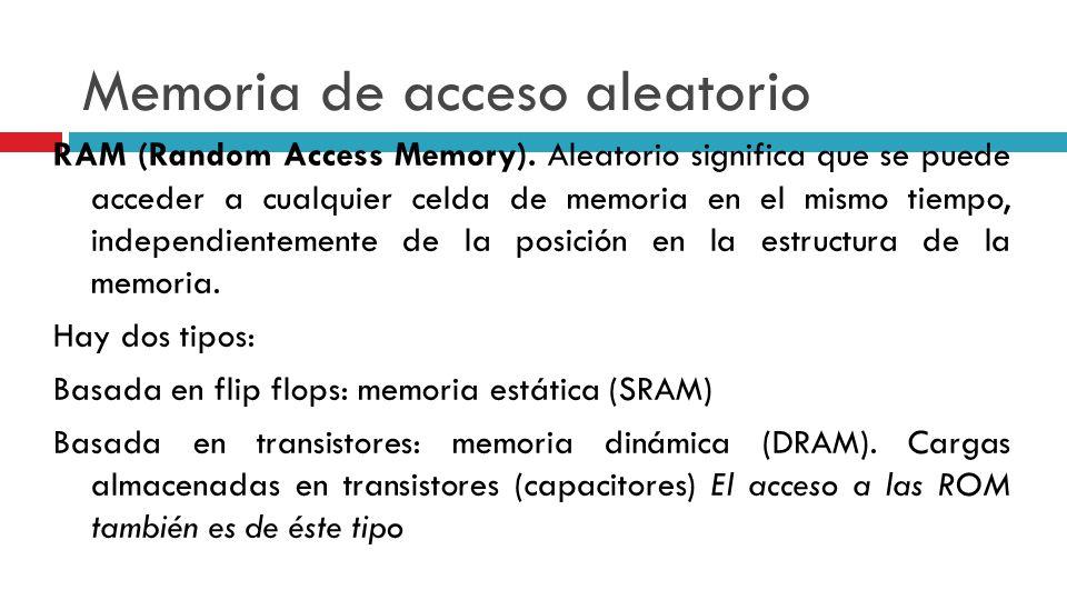 Memoria de acceso aleatorio RAM (Random Access Memory). Aleatorio significa que se puede acceder a cualquier celda de memoria en el mismo tiempo, inde