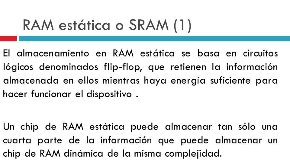 RAM estática o SRAM (1) El almacenamiento en RAM estática se basa en circuitos lógicos denominados flip-flop, que retienen la información almacenada e