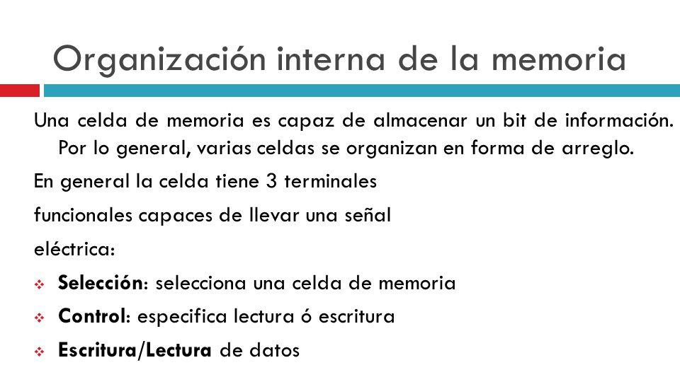 Organización interna de la memoria Una celda de memoria es capaz de almacenar un bit de información. Por lo general, varias celdas se organizan en for
