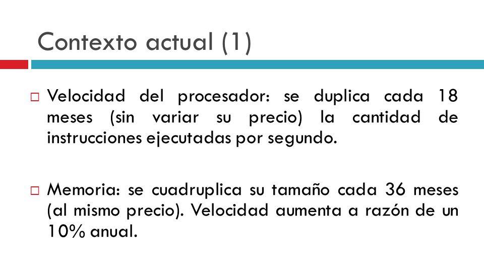 Contexto actual (1) Velocidad del procesador: se duplica cada 18 meses (sin variar su precio) la cantidad de instrucciones ejecutadas por segundo. Mem