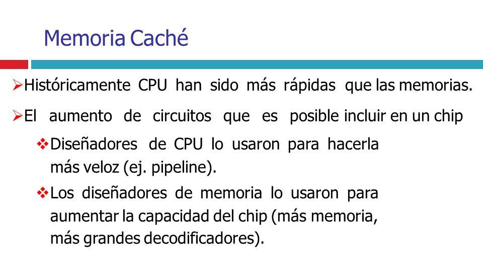 Memoria Caché Históricamente CPU han sido más rápidas que las memorias. El aumento de circuitos que es posible incluir en un chip Diseñadores de CPU l